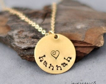 Personalized Gold / Silver Hand Stamped Nameplate Necklace, keepsake necklace, anniversary, wedding date, Name Tag Necklace, coin necklace