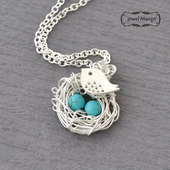 Long turquoise Silver Robin's Eggs in the nest with bird Necklace, mom of  3 kids, only kid mom silver long necklace, turquoise beads, wire