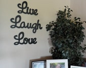 "Wooden Wall Sign Live Laugh Love Wall Hanging for Home - Large 8"" Lettering"