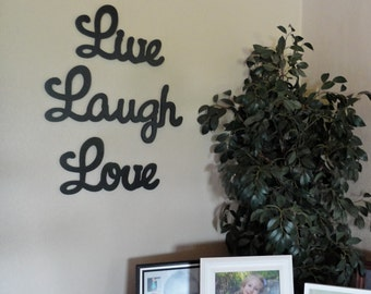"""Wooden Wall Sign Live Laugh Love Wall Hanging for Home - Large 8"""" Lettering"""