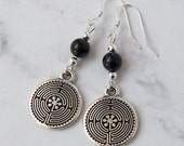 Onyx Labyrinth Metaphysical Earrings - Black Onyx, Sterling Silver Beads, Sterling Silver Earwires - Metaphysical, Spiritual, Meditation