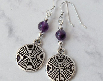 Amethyst Labyrinth Metaphysical Earrings - Amethyst, Sterling Silver Beads, Sterling Silver Earwires - Metaphysical, Spiritual, Meditation