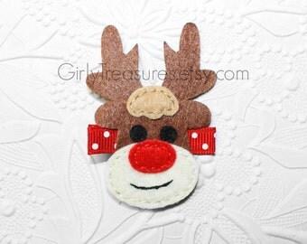 Rudolph The Red Nosed Reindeer HAIRCLIP. Baby Clippie. Newborn Headband. Girl Headband. Photo Prop.