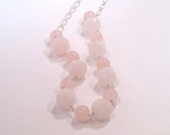 SALE-50% OFF-925 Sterling Silver - Pink Rose Quartz Faceted Beaded Wire Wrapped Necklace