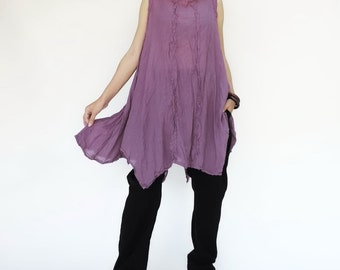 NO.8 Lilac Cotton Gauze Asymmetric  Tunic Top, Tank Top