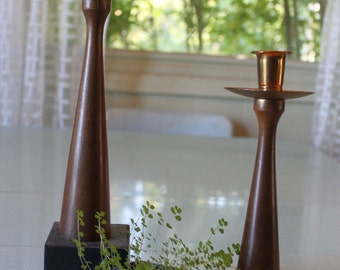 2 gorgeous mid wood and brass tall candle holders