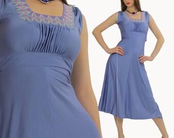 Blue Boho Dress Hippie dress Prairie dress Peasant dress Grecian dress Festival Dress Boho Maxi Dress Blue Embroidered party  dress Small