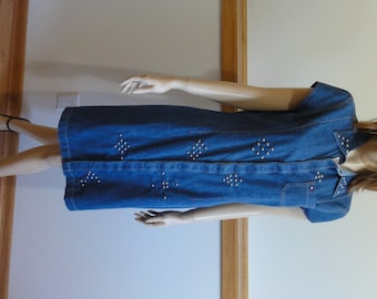 Upcycled Tommy Hilfiger Denim Summer Dress, Studded Pyramid Designs, size 10, Short Sleeve, Hidden Snap Front