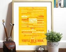 Rudyard Kipling inspirational Poem Quote IF Typography Art Poster Print - IF Poem by Rudyard Kipling motivational Poster size A3 Poster art