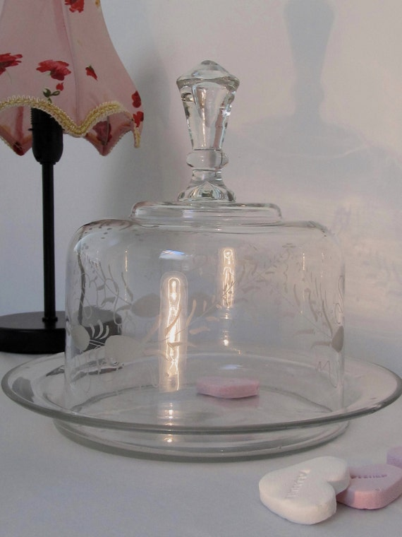 Vintage Etched Glass Cake Stand With Dome Lid