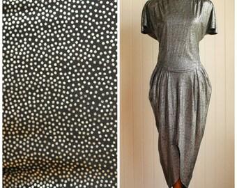 Vintage 80s Silver Liquid Metallic Disco Dress// Cocktail Party Dress// Polka Dot Dress// Disco Clubwear