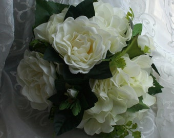 Gardenia Bouquet with Hydrangea, Maidenhair Fern & Boutonniere - Custom Made to Order - Bridesmaids Bouquets - Rustic Wedding - Bridal Chic