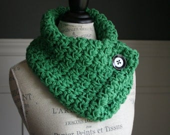 Kelly Green Cowl Neck Scarf  with black button, crocheted