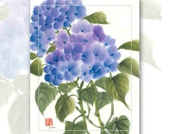 """Watercolor Chinese Brush Painting Cards  """"Hydrangea"""""""