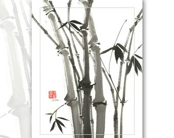 "Watercolor Chinese Brush Painting B&W Cards  ""Bamboo"""
