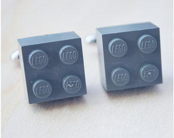 Cufflinks With Lego Bricks - Father's Day 2016 - Charcoal Gray Cufflinks - Best Man Grey Cuff Links