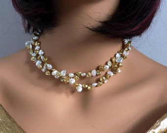 """Gold & White Keshi Pearl Necklace, Double Strand, Handmade: """"Treasure Chest"""""""