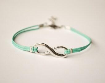 Infinity bracelet, turquoise cord bracelet with a silver endless charm, Yoga bracelet, gift for her, minimalist jewelry, friendship, zen