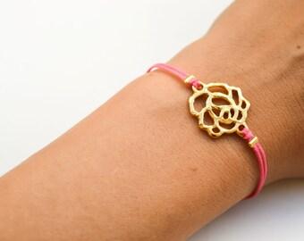 Rose bracelet, pink bracelet, gold flower charm, minimalist jewelry, flower bracelet, gift for girlfriend, gold bracelet, gift for her, pink