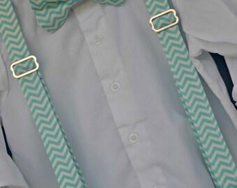 Childs Bowtie and suspenders - aqua chevron bowtie, aqua suspenders, aqua white bowtie, Boy Easter Outfit, childs Easter bowtie, Easter boy