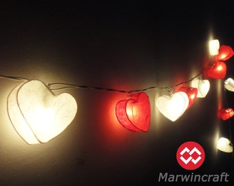 20 Mixed Romantic Red White Hearts LANTERN Paper Handmade Fairy String Lights Party Patio Wedding Floor Table or Hanging Gift Home Decor