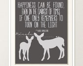 Harry Potter Quote & Deer Wall Art 8x10 Print // Grey and Light Grey