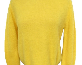Vintage 1950s Pin-Up Girl Sweater Shaggy Yellow Pullover COLLEEN Unworn with Tag