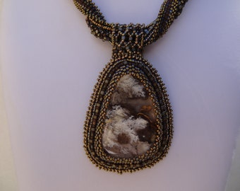 White Plumed Agate, 5 Strand Woven and Beaded Embroidery Necklace