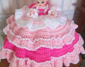 Crochet 12 Inch Bed Pillow Doll In PinkTier Dress