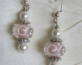 Light Pink/White Swirl Lampwork  Rondelles with white Swarovski Pearl Earrings