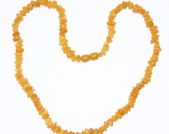 Natural Baltic amber necklace for adults, honey color shape beads 59