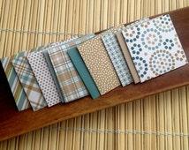 Mini handmade square envelopes 2x2  tan and teal 10