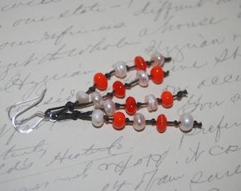 Freshwater Pearl, Orange Chips Glass on Brown Cord Long Dangled Earrings
