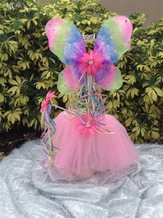 Rainbow Fairy Princess Wings, Wand and Pink Tutu Sets with matching flowers Party Favors