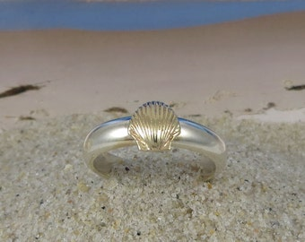 14k Gold and Sterling Silver Stacking Sea Shell Ring