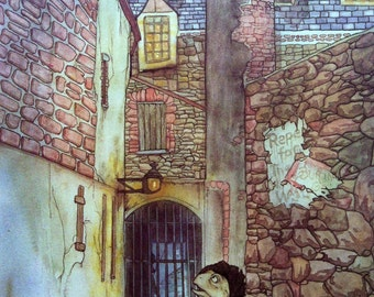 1982 WIND in the WILLOWS TOAD Escapes Prison Michael Hague Print ideal for Framing