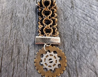 "Clockpunk Steampunk Medal, Braided ""Ribbon"" & Gears: Lapel or Collar Pin, Brooch or Decoration for Bag, Belt, Pack, Sash, Epaulets, Jacket"