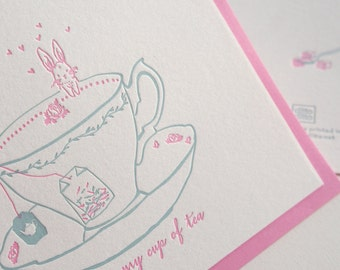 My Cup of Tea - Letterpress Love Card - A Journey of Love