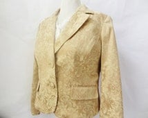 Gold jacket coat vintage dressy fitted blazer womens size 14