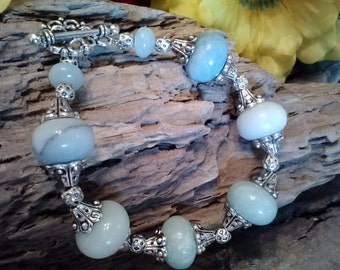 Natural Blue Amazonite Stone Beaded Tibetin Silver Bead Caps and a Decorative Toggle Clasp