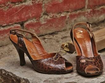 Brown 1950s alligator heels with gold trim