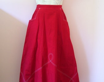 Yee Haw Vintage 1940s 40s 1950s 50s Red Denim Skirt with White Soutache Swirl Stitching -Deadstock/Nos- Western-Cowgirl-Ranch-Hillbilly