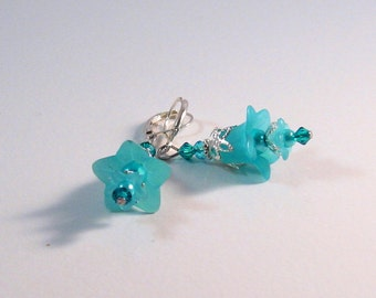 Teal Blue & Silver Fairy Flower Earrings,  Teal jewelry, Blue Jewelry, Aqua Jewelry, Fairy jewelry, Flower Jewelry, Bridesmaids Jewelry