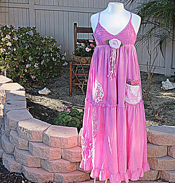Women's Dress | Radiant Orchid Pantone's Spring Color | Upcycled Dress | Women's Repurposed Clothing | Boho Shabby Clothes
