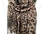 Leopard Scarf. Animal Print Shawl. Viscose Scarf. Gift for Her. Soft Scarf. Fringed Scarf. Woman Scarf. 25x70 in. (65x180 cm). Ready2Ship.