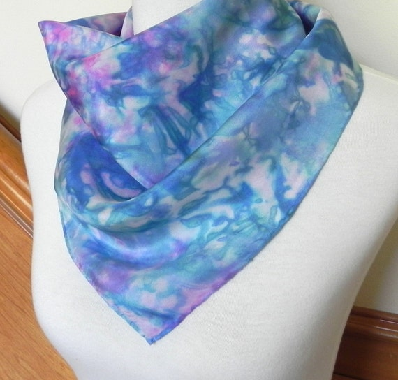 Square Silk Scarf Hand Dyed Peacock Blue, Green, and Magenta, Ready to Ship silk scarf #462