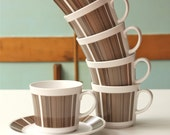 Noritake Progression Newel 6 Coffee Cups and saucers