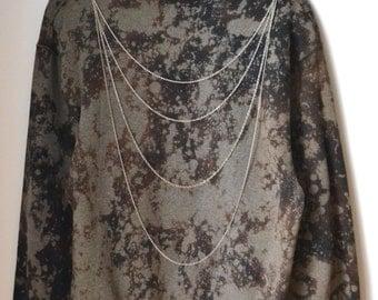 Galaxy Sweatshirt Quadruple Silver Chain Size Medium