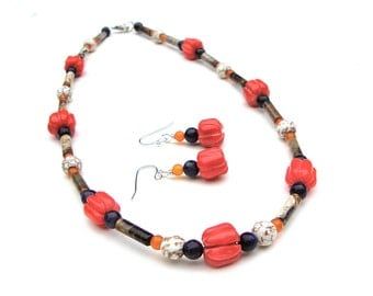 Red coral and jasper necklace - pumpkin necklace - small stone bead necklace - natural gemstone jewelry