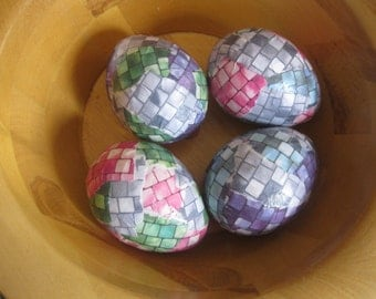 Mosaic Tiles Handmade Decoupage Paper Mache Easter Eggs: Set of Four